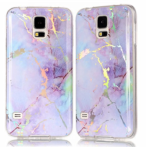 IVY Galaxy S5 Marble Case with Colour Electroplating and TPU Cover Protective Shell for Samsung S5 - - For Dollar S5 Cases Galaxy