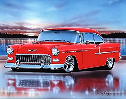 Amazon 1955 Chevy Bel Air 2 Door Hardtop Hot Rod Car Art Print