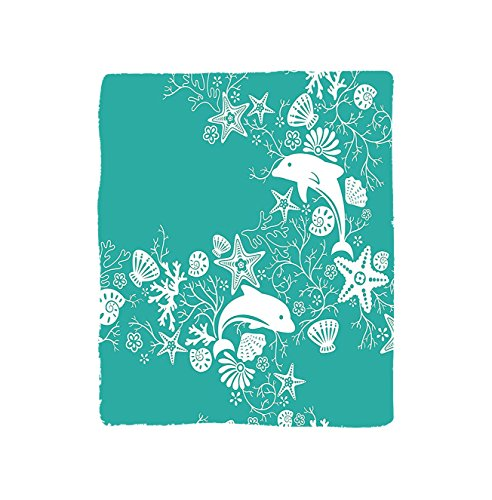 VROSELV Custom Blanket Teal Sea Animals Dolphins and Flowers Sea Floral Pattern Starfish Coral Seashell Wallpaper Pattern Soft Fleece Throw Blanket Art Teal White