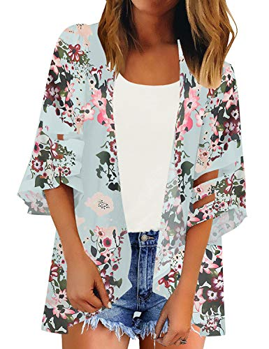 LookbookStore Women's Open Front Floral Print Kimono Mesh Panel 3/4 Bell Sleeve Lightweight Beach Swimsuit Cover Up Light Blue Size Small