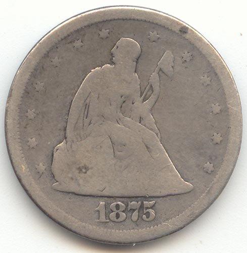 1875 S Twenty-Cent Piece Good