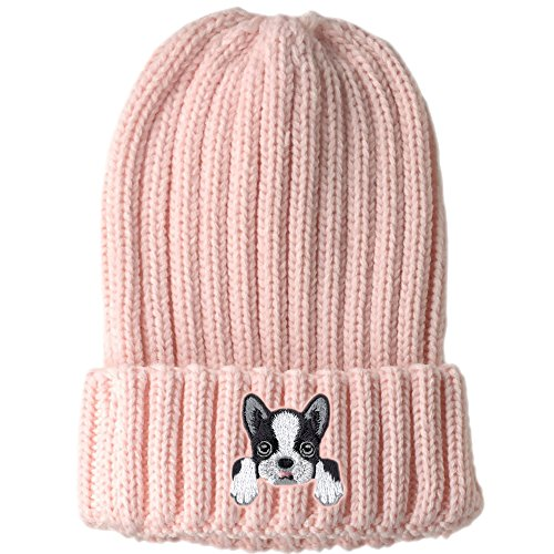 Q-Beans [ Boston Terrier ] Cute Embroidered Puppy Dog Warm Knit Fleece Winter Beanie Skull Cap [ Pink ] (Terrier Embroidered Cap)
