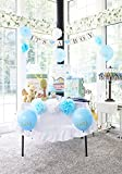 Blue Baby Shower Decorations for Boy: Party Set with Banner, Sash, Balloons, Pom Poms, Photo Props