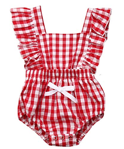 (Newborn Infant Baby Girl Clothes Lace Halter Backless Jumpsuit Romper Bodysuit Sunsuit Outfits Set (Red White Plaid Romper for Baby Girls,95% Cotton, 18-24 Months))