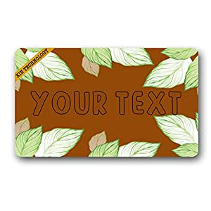 "Artsbaba Doormat Personalized Your Text Door Mat Green Leaves Doormats Monogram Non-Slip Doormat Non-woven Fabric Floor Mat Indoor Entrance Rug Decor Mat 30"" x 18"""