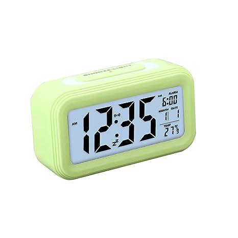 Zorara Despertadores Digitales, LCD Pantalla Reloj Alarma Inteligente Simple y con Pantalla de Fecha y Temperatura Función Despertador Digital, ...