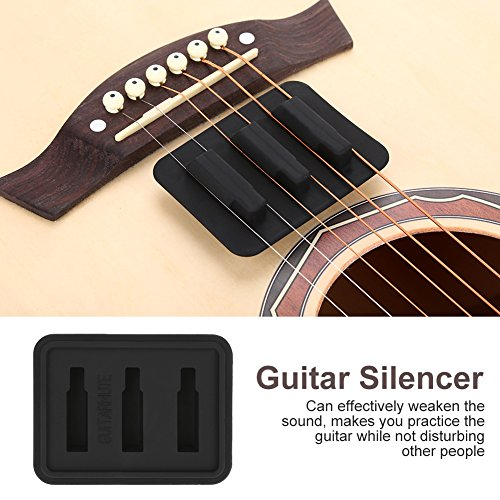 Guitar Mute Silencer - Silicone Black Guitar Ukelele String Mute Silencer Training Tool Instrument Accessory ()