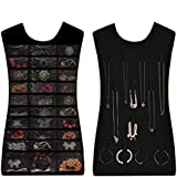 Valdler Dual Sides Hanging Jewelry Non-woven Organizer 30 Pockets 14 Hook-and loop Tabs Holder Storage Bag Without Hanger (Black)