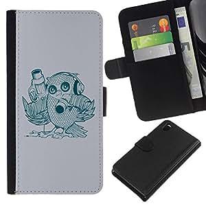 // PHONE CASE GIFT // Moda Estuche Funda de Cuero Billetera Tarjeta de crédito dinero bolsa Cubierta de proteccion Caso Sony Xperia Z3 D6603 / Abstract Bird /