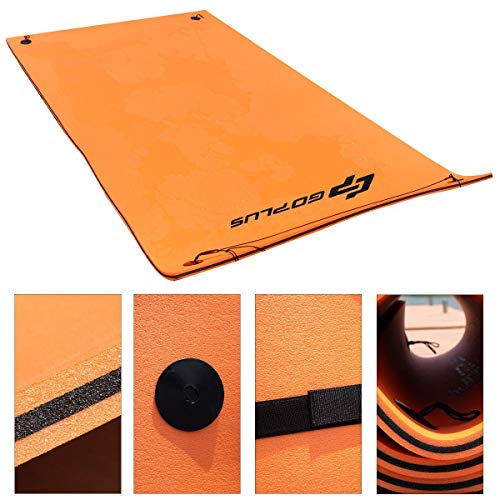 Goplus 12' x 6' Floating Water Pad for Lakes 3 Layer Floating Foam Mat Aqua Buoyancy Pad Designed for Water Recreation and Relaxing (Orange + Black) by Goplus (Image #5)