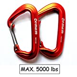 24KN Super Strong and Lightweight Wiregate Climbing Grade Carabiner Holds 5000lbs Used for Hiking Camping Outdoor Exploring Rappelling Rescue Engineering Protection, Each 1.23oz(Pack of 2 Orange)