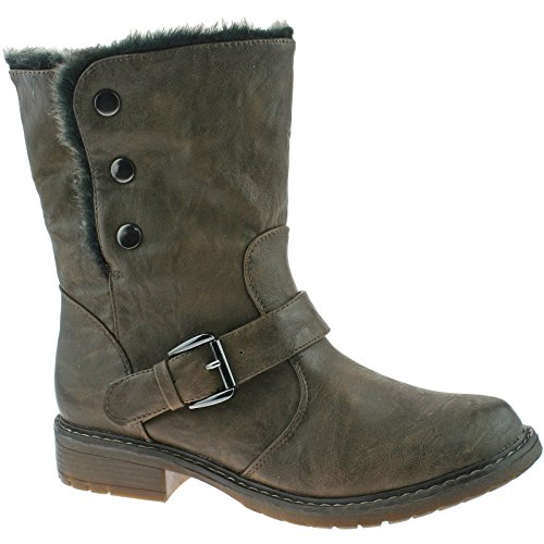 Down Furlined Mid Style Height Brown Boot Biker Brown Cipriata Fold Eyes Fleece Cats x4S1FF