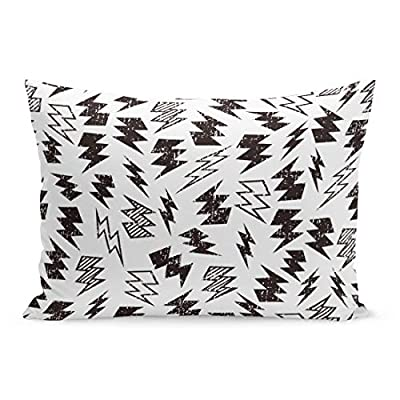 Semtomn Throw Pillow Covers Pattern Black and White Distressed Lightning Bolt Kid Thunder Distress Pillow Case Cushion Cover Lumbar Pillowcase Decoration for Couch Sofa Bedding Car Parent Variation
