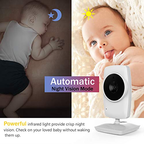 """IKQIEOR Baby Monitor- 3.2"""" Video Baby Monitor with Camera and Video, Two-Way Audio, Infrared Night Vision, 2 x Zoom and Lullabies Play (3.2 inch)"""