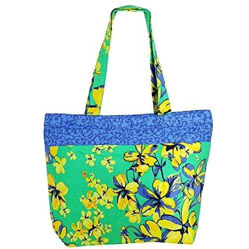 ShalinIndia - Multipurpose Shopping Bag ,Zipper Closing, 100 % - Top Cotton Zip Tote