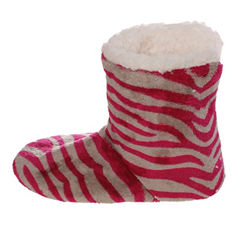 Fuchsia Emmalise Fur Zebra Lounge Indoor Gray Slipper Boots women Shoes Fur for Womens Boots BAqrwBO