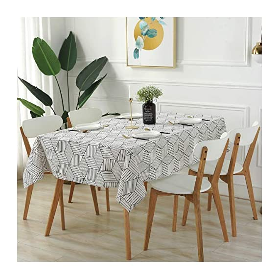 "SESTYLE Rectangle Tablecloth Geometric Style Cotton Linen Table Cloth Dust-Proof Table Cover for Kitchen Dinning Tabletop Decoration (Rectangle/Oblong, 52"" x 90"" (6-8 Seats), White) - Premium Quality Tablecloth: Manufactured from super, hard wearing cotton linen fabric, won't easily fray after long term use; an inherent quality of natural, handcrafted linen pieces, which only add to their beauty. Versatile Table Protector: This rectangular tablecloth is reminiscent of casual dining and perfect for everyday meals with the family, parties, birthdays or special holiday gatherings, indoor and outdoor use, weddings and more. Decoration Your Home: Add flowers, candles or a seasonal centerpiece to tables cape. and keep dust off and protect your table,tablecloth and furniture tops against scratches, scuffs, stains while still show the beauty of your table and furniture tops. - tablecloths, kitchen-dining-room-table-linens, kitchen-dining-room - 513whyOjYBL. SS570  -"