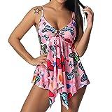 FEDULK Women's Plus Size Swimwear Butterfly Tankini Set Tank Top Boyshort Two Piece Swimsuit S-5XL(Pink, X-Large)