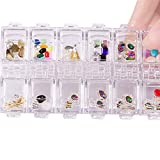 12 Grids Nail Art Tips Clear Storage Box Holder Case for Beads Rhinestone Jewelry Transparent