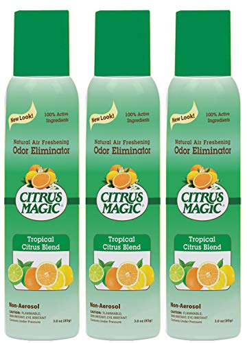 Citrus Magic Natural Odor Eliminating Air Freshener Spray Tropical Citrus Blend, Pack of 3, 3.0-Ounces Each