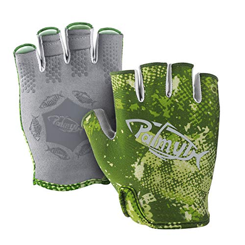 Palmyth Stubby UV Fishing Gloves Sun Protection Fingerless Glove Men Women UPF 50+ SPF for Kayaking, Paddling, Canoeing, Rowing, Driving (Green Camo, Large)