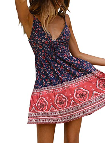 Dokotoo Womens Sun Casual Fashion Ladies Spaghetti Strap Sleeveless Floral Print Deep V Neck A Line Flowy Swing Skater Mini Short Short Dresses X-Large Blue