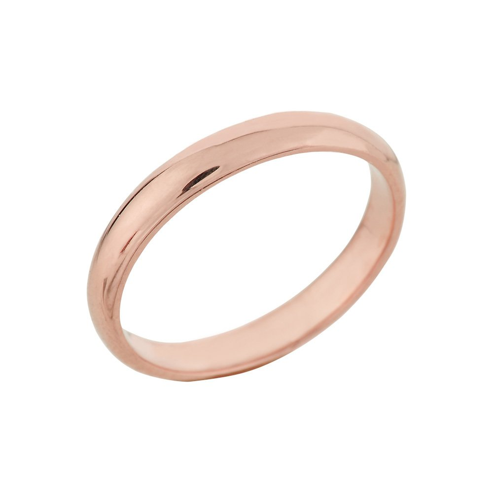 Classic 10k Rose Gold Comfort-Fit Band Dainty 3mm Wedding Ring for Women, Size 8