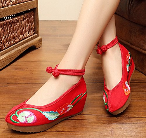 Embroidery Platform Ankle Women Flowers Red Wedge AvaCostume Shoes Button OtqEzwB