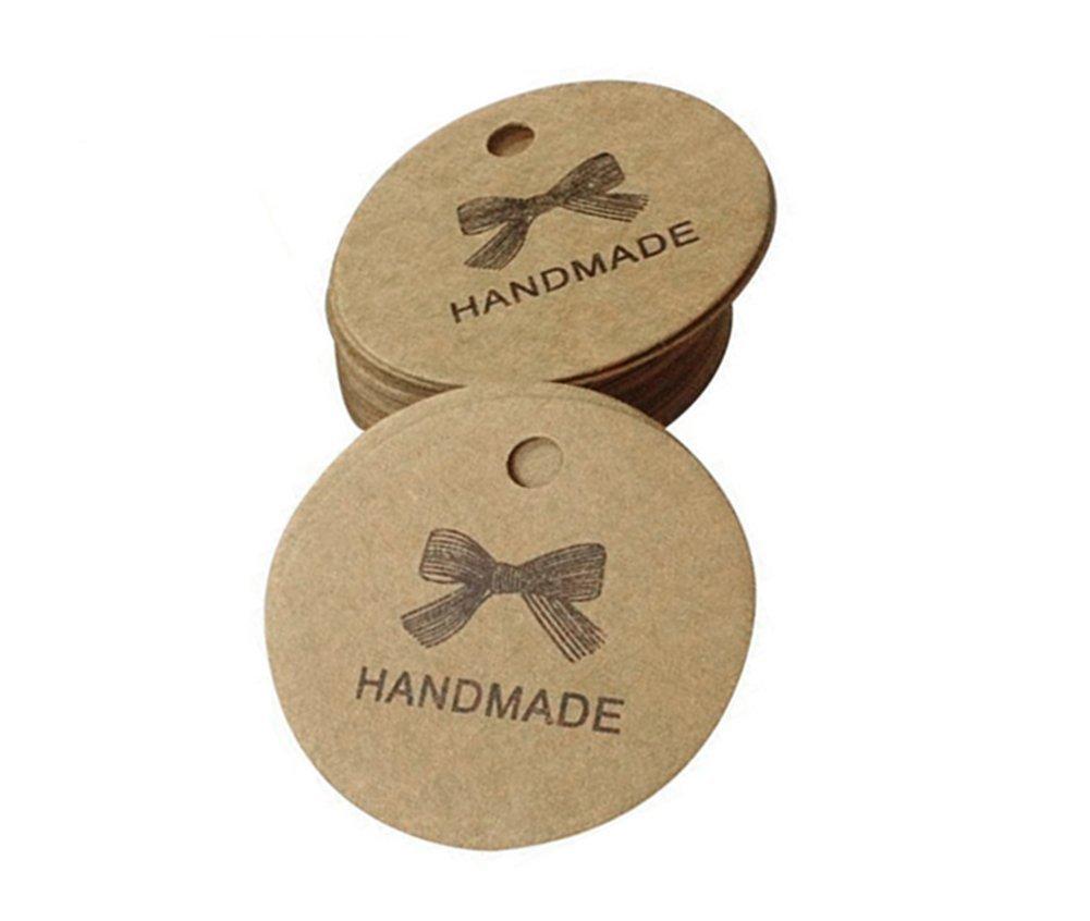 CAOLATOR Tondo a forma di etichetta di carta per la decorazione partito di nozze handmade - 100pcs (marrone), Tag Regalo di Nozze