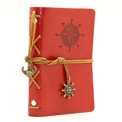 Vintage Leather Cover Journal Diary String Nautical (Red) - 8