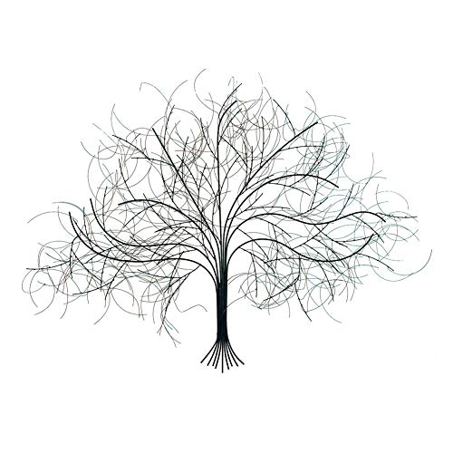 SIGNALS Black Tree Wall Decor Sculpture - Handcrafted Metal Art (Tree Wall Metal Hanging)