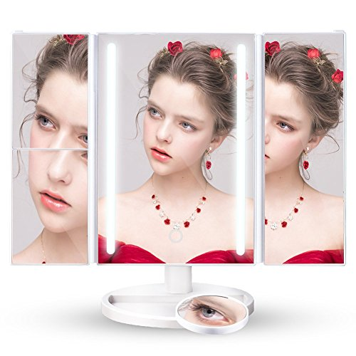 Vanity Makeup Mirror, Lifecolor Cosmetic Mirror with Trifold Natural 24 LED Lights, 2x/3x/10x Magnification and USB Charging/Battery Operated, 180° Adjustable Stand Countertop (Rose Gold) -