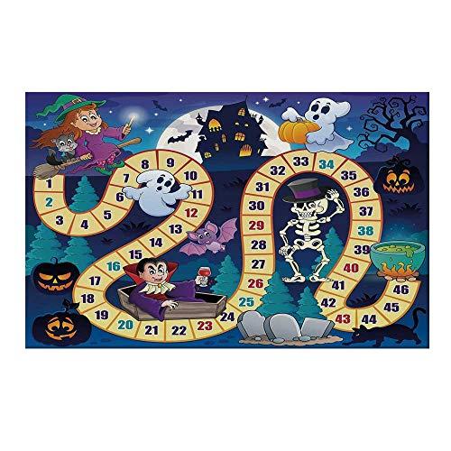 YOLIYANA Board Game Durable Door Mat,Halloween Theme Symbols Happy Witch Girl Vampire Ghost Pumpkins Happy Comic for Home Office,15.7