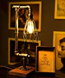 TOFAR Loft Steampunk Retro Metal Pipe Handmade Modern Antique Decor Table Light Edison Lamp Dimmable