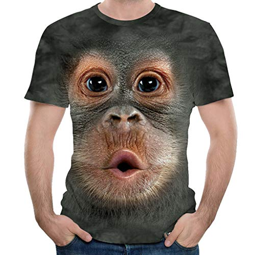 Red Monkey Jeans - KASAAS T-Shirts for Men, Chic 3D Monkey Print O-Neck Short Sleeve Summer Fashion Casual Party Shirts Tops(XXXL,Coffee)