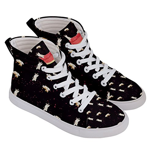 deporte CowCow mujer US5 Whisker Hi Negro Hi Kitty Top Cat US10 Skate Top Zapatilla de para 5 5wAgSqAH