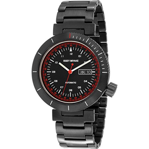 ISSEY MIYAKE Men's 'W' Japanese Automatic Stainless Steel Casual Watch, Color:Black (Model: NYAE701Y)