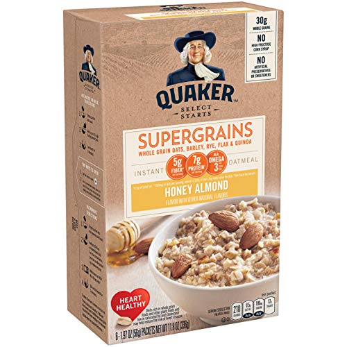 Quaker Instant Oatmeal, Super Grains, Honey Almond, 6 count ,net weight 11.8 Ounce (Pack of 6)