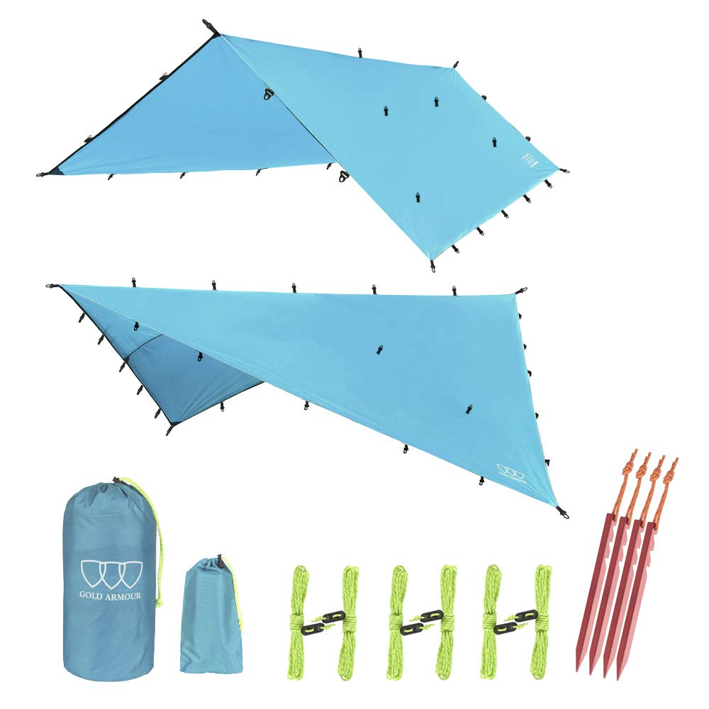 12ft Extra Large Tarp Hammock Waterproof Rain Fly Tarp 185in Centerline - Lightweight Ripstop Fabric - Stakes Included - Survival Gear Backpacking Camping Accessories - Multiple Colors (Sky Blue) by Gold Armour