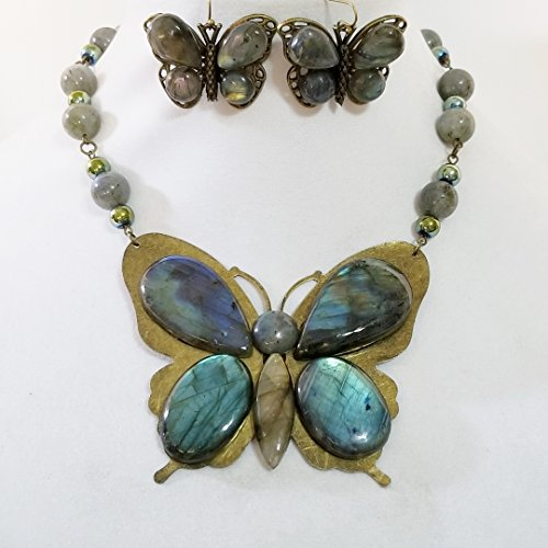 Big Butterfly Pendant Gemstone Labradorite Necklace Earrings Handmade by Claire Kern Creations