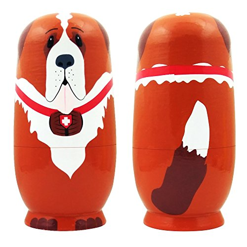 5pcs Cute Dog Nesting Dolls Handmade Wooden Russian Matryoshka Wishing Dolls Birthday for Kids Decoration by DWG (Image #2)