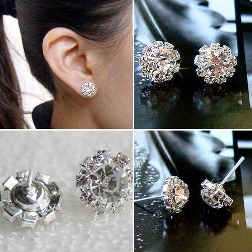 Moking top Fashion New Women's Girl's Sweet Cute Color Crystal Rhinestone Ear Stud Earrings (B)