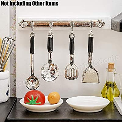 Odoria 1:12 Miniature 4PCS Utensils with Hanger Dollhouse Kitchen Accessories: Toys & Games