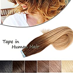 "Ombre Balayage Tape in Hair Extension Human Hair Medium Brown to Dark Blonde 20"" Long Highlight Straight 100% Remy Human Hair Bonding Double Sided Tape Seamless Skin Weft Hair 40pcs/100g"