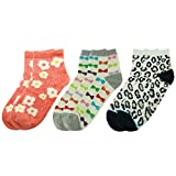 Fashion Slipper Socks,Womens Soft Plush Warm Leopard Print Flowers Bowknots Design Anti-slip Home Casual Socks Vive Bears 3 Pairs