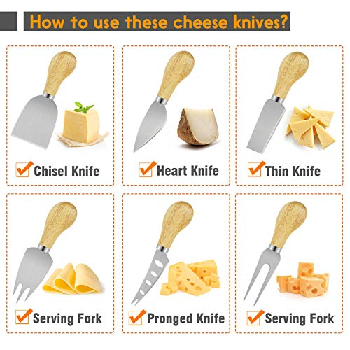 Cheese Knife Set for Charcuterie Board, Set of 6 Pieces Cheese Spreader Cutter Knives Collection for Gift,Stainless Steel Cheese Spreading Knife,Slicer,Shaver,Fork with Bamboo Wood Handle (Type 4)