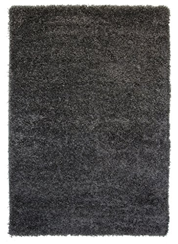 """Thick Modern Small Medium Soft Anti Shed Luxury Vibrant Shaggy Area Rugs - 8 Colours & 5 Sizes Available (Grey 2'7"""" x 4'11"""")"""