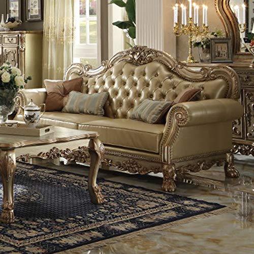 Benzara BM185570 Luxurious Tufted Leatherette Sofa with Matc
