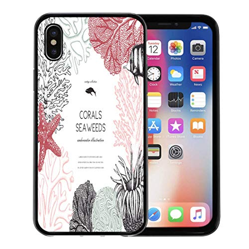 Semtomn Phone Case for Apple iPhone Xs case,Brain Pastel Colored Corals Fish Stars Sketch Vintage Underwater Natural Sealife Wedding Engraving for iPhone X Case,Rubber Border Protective Case,Black (Star Polyp Coral)