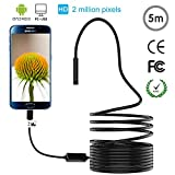 Endoscope, USB 2 in 1 Waterproof HD Snake Camera with 8 LED for Android, Windows and Macbook OS Computer, USB Endoscope - 16.4 ft(5M) Black